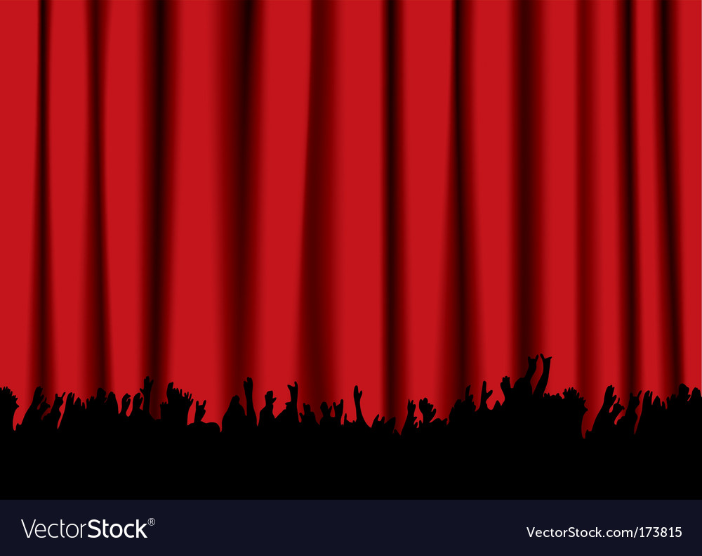Concert crowd red curtain vector | Price: 1 Credit (USD $1)