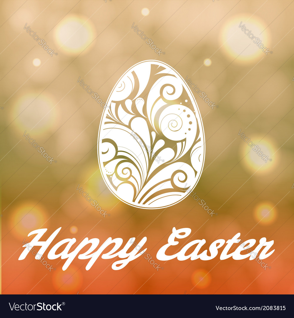 Easter egg with floral ornament on bright bokeh ba vector | Price: 1 Credit (USD $1)