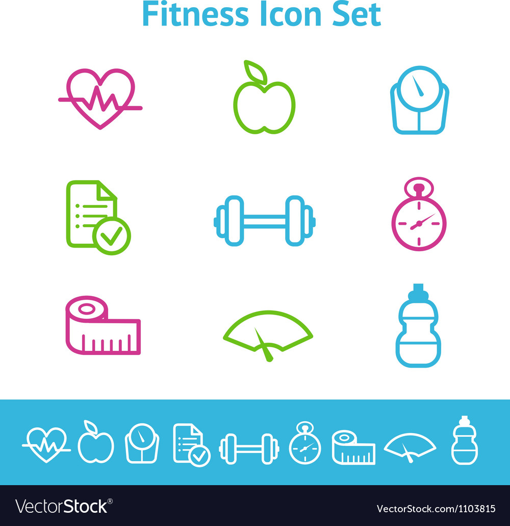 Fitness icon set vector | Price: 1 Credit (USD $1)