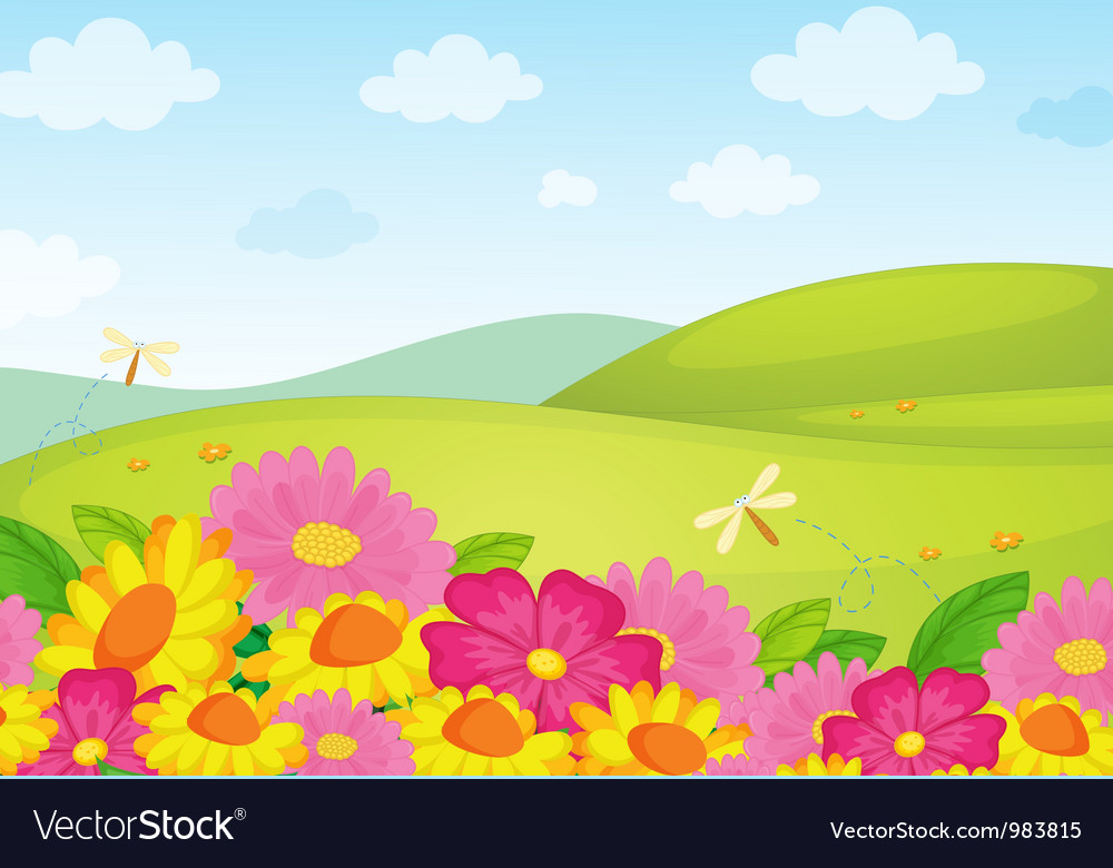 Floral field background vector | Price: 1 Credit (USD $1)