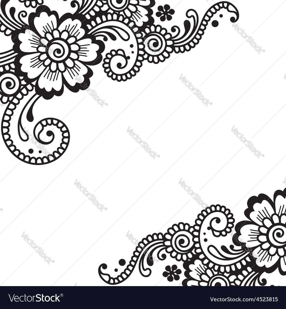Flower ornament corner vector