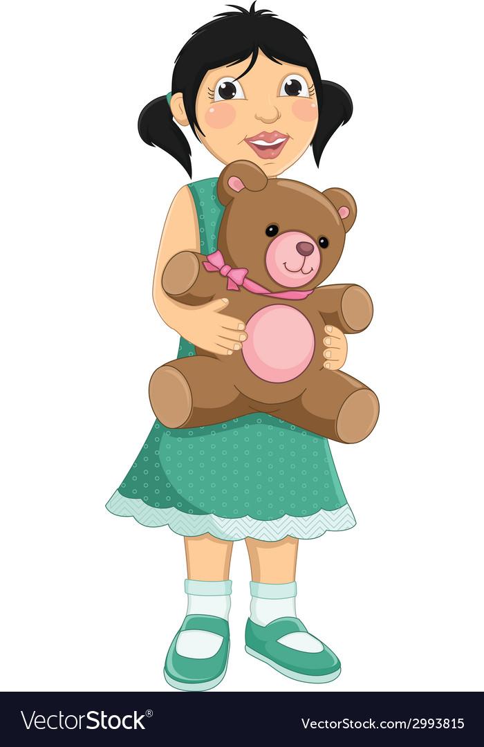 Girl hugging teddy bear vector | Price: 1 Credit (USD $1)