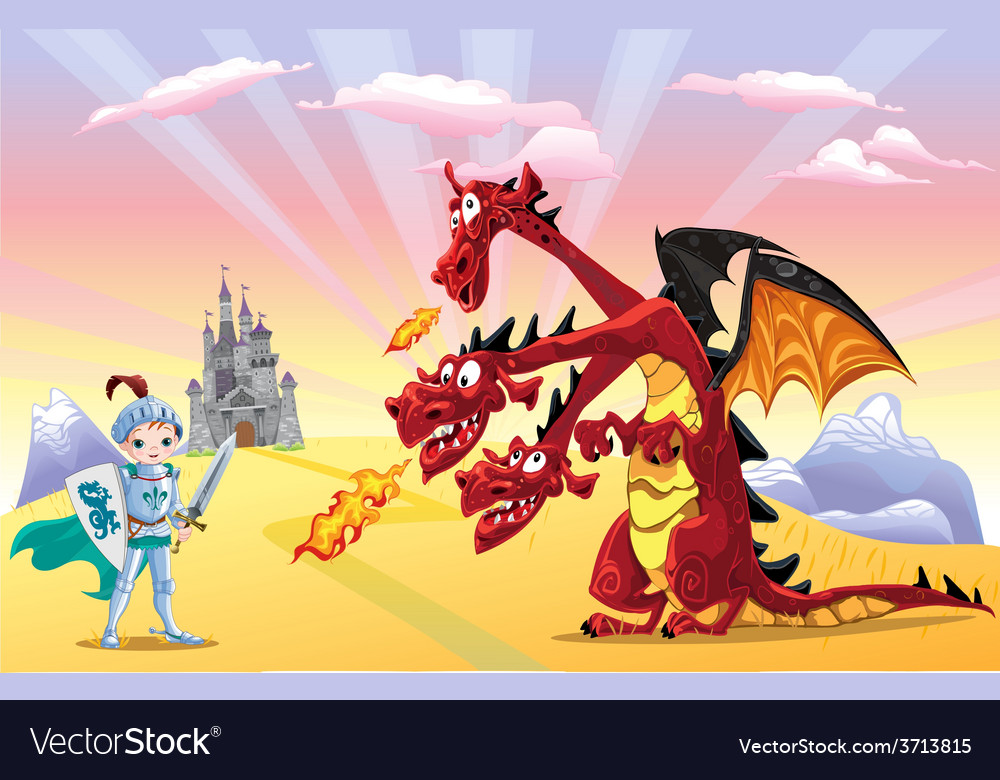 Knight and dragon vector | Price: 3 Credit (USD $3)