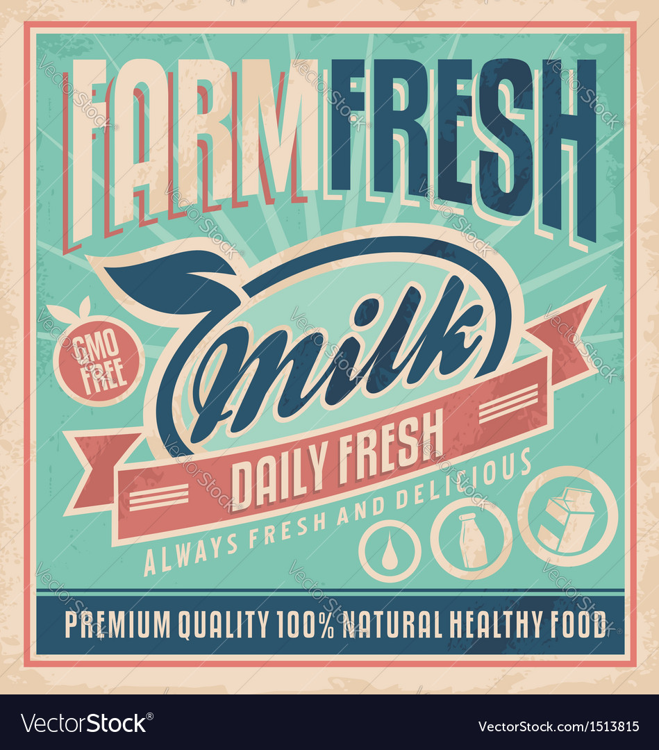 Retro farm fresh milk concept vector | Price: 3 Credit (USD $3)