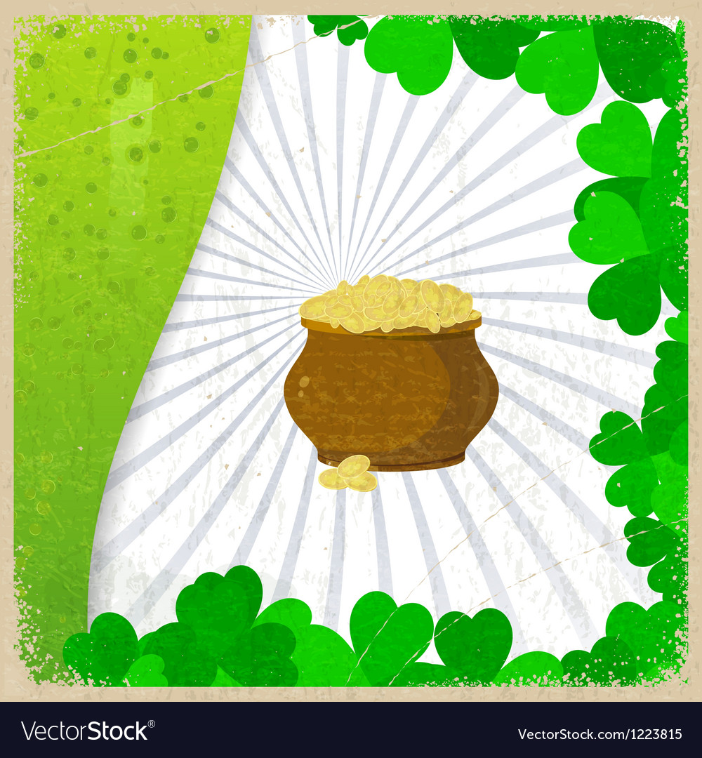 Vintage background with the image leaf clovers vector | Price: 1 Credit (USD $1)
