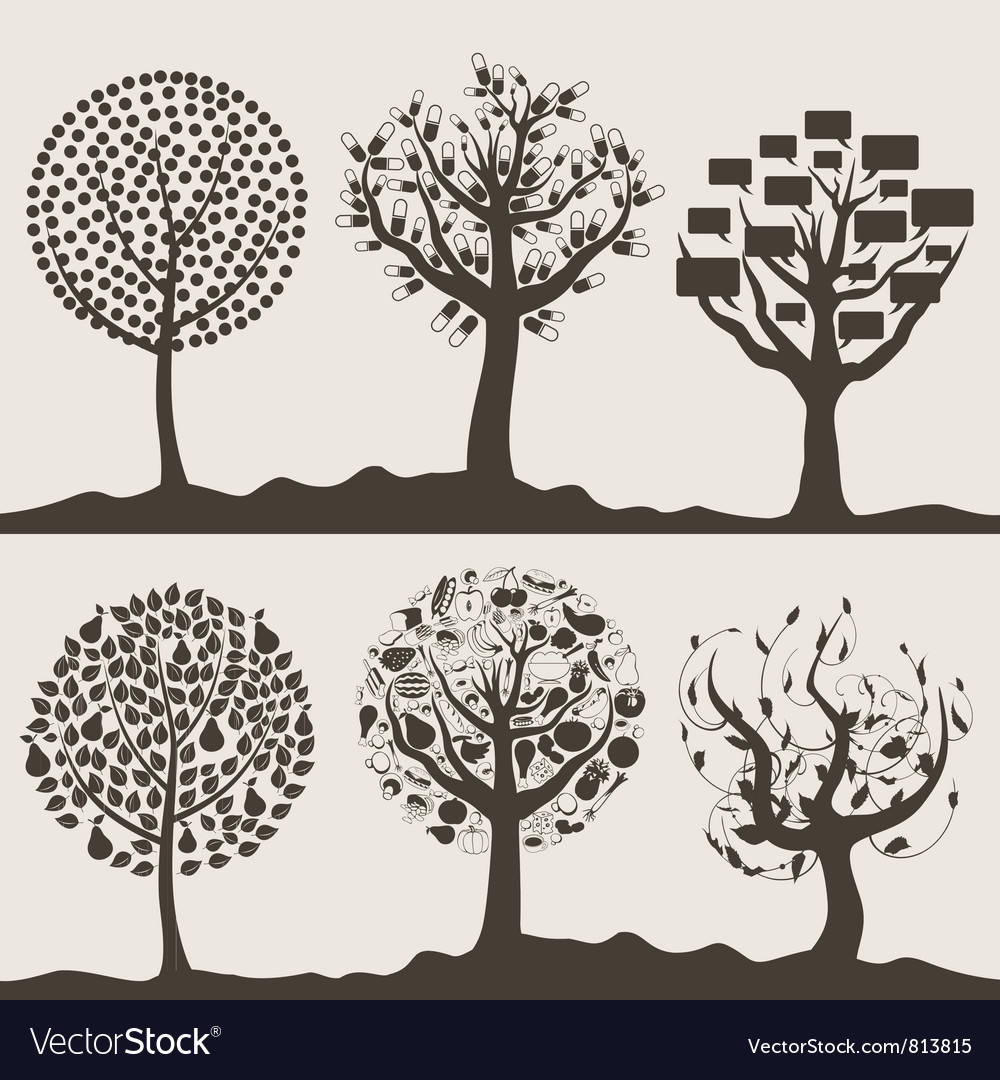 Wood tree6 vector | Price: 1 Credit (USD $1)
