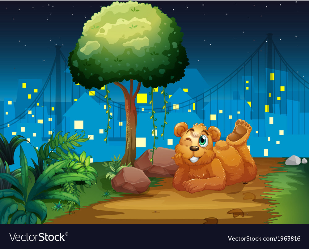 A happy brown bear at the pathway vector | Price: 3 Credit (USD $3)