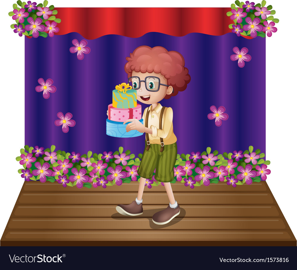 A stage with a young boy holding gifts vector | Price: 3 Credit (USD $3)