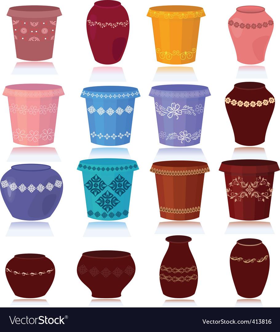 Flower pots vector | Price: 1 Credit (USD $1)