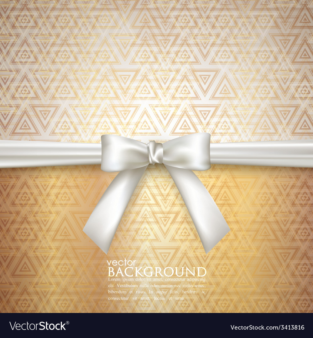 Golden background with white bow vector | Price: 1 Credit (USD $1)