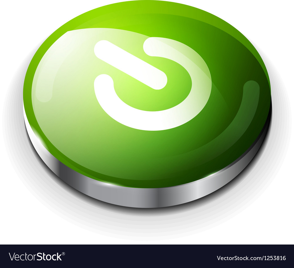 Green glossy power button icon vector | Price: 1 Credit (USD $1)
