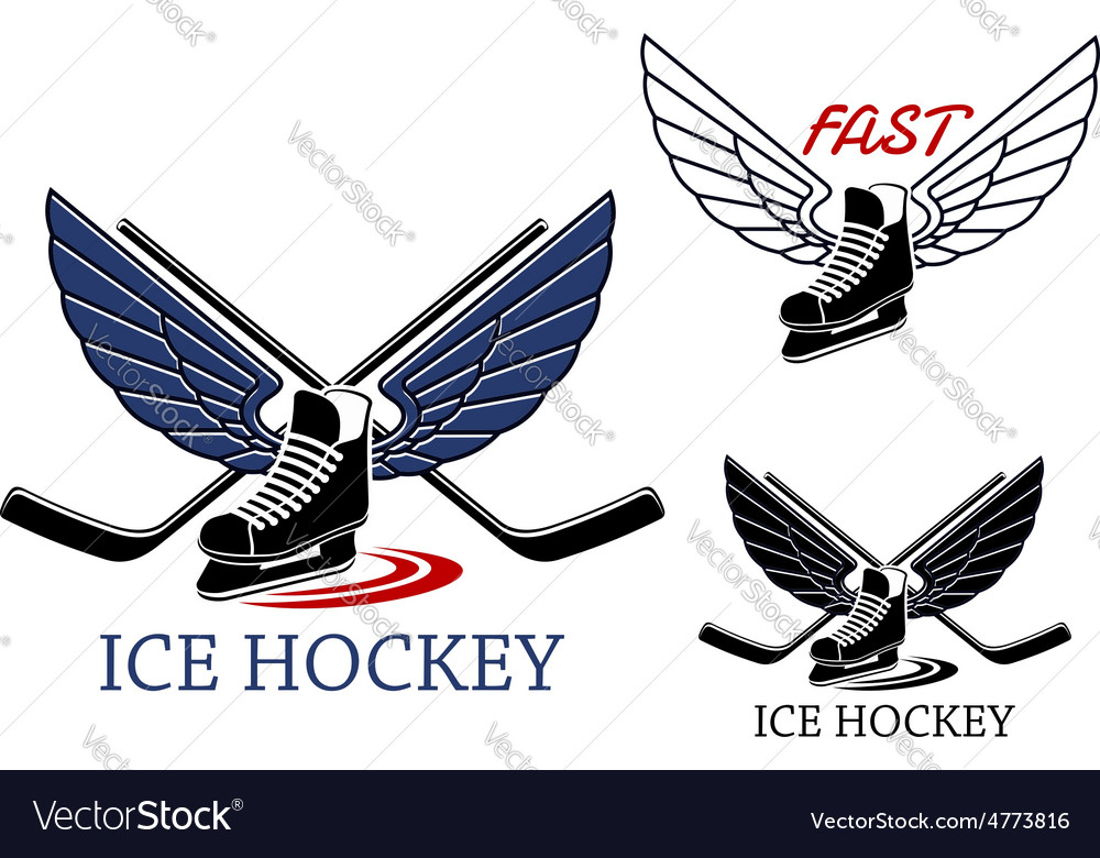 Ice hockey emblems with winged skates vector | Price: 1 Credit (USD $1)