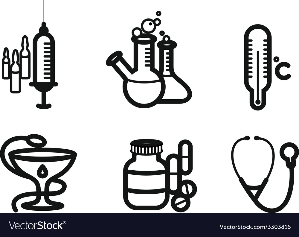 Icon set in black for medicine and pharmacy vector | Price: 1 Credit (USD $1)