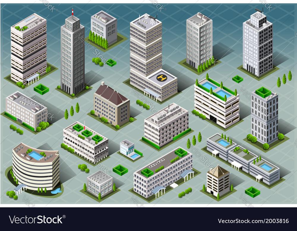 Isometric buildings vector | Price: 1 Credit (USD $1)