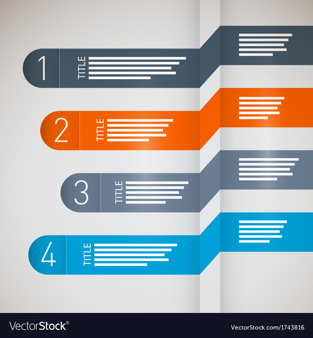 One two three four paper progress steps for vector | Price: 1 Credit (USD $1)