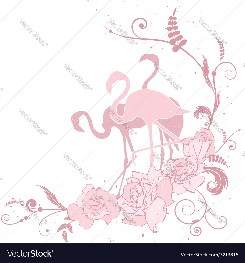 Pink flamingo and roses vector | Price: 1 Credit (USD $1)