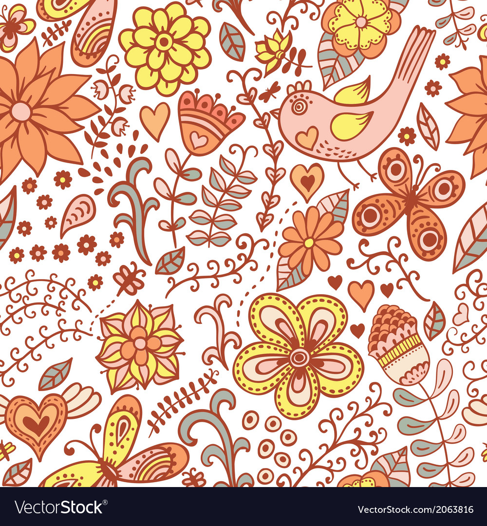 Seamless texture with flowers birds and vector | Price: 1 Credit (USD $1)