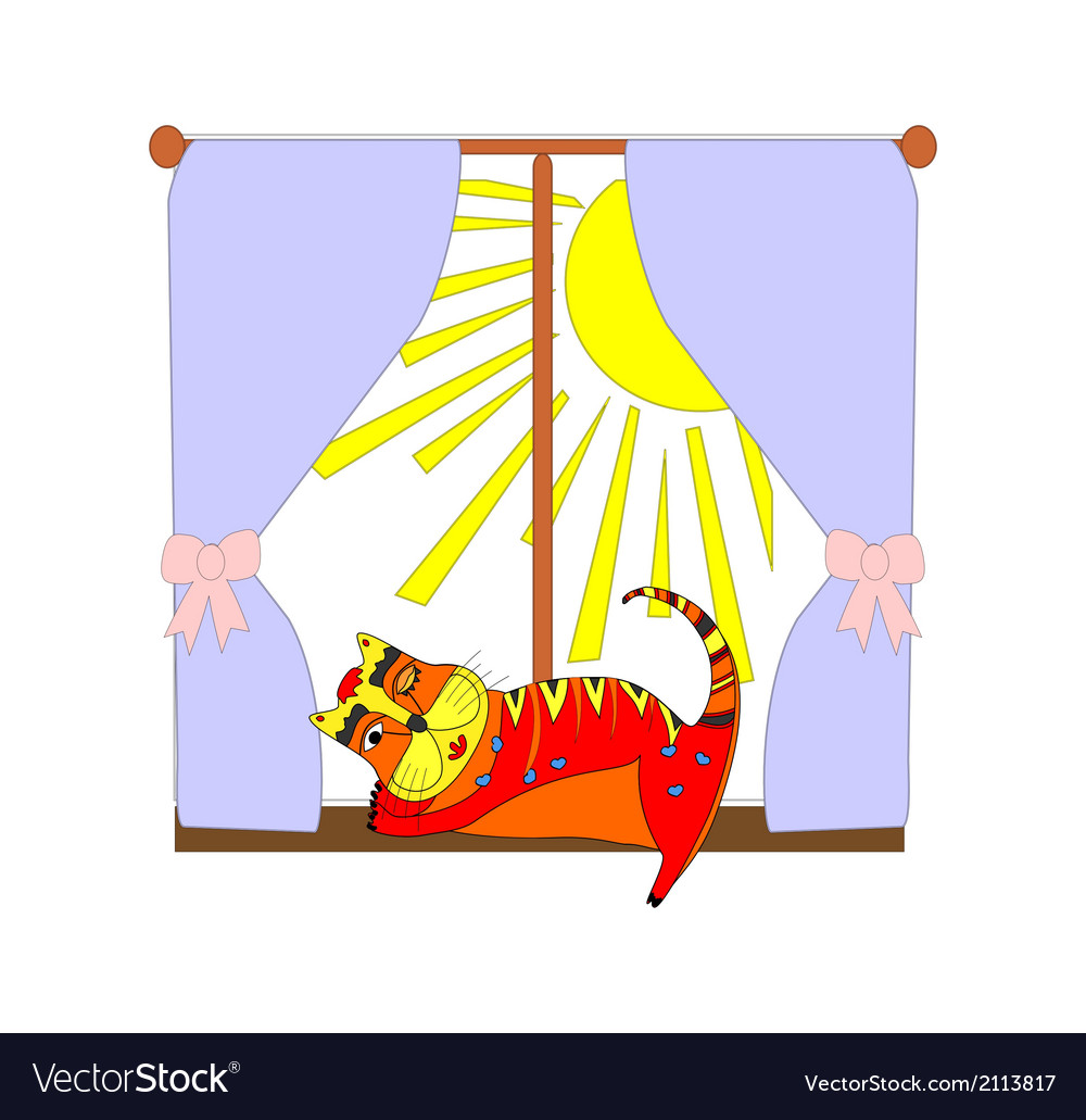 A cat near the window vector | Price: 1 Credit (USD $1)