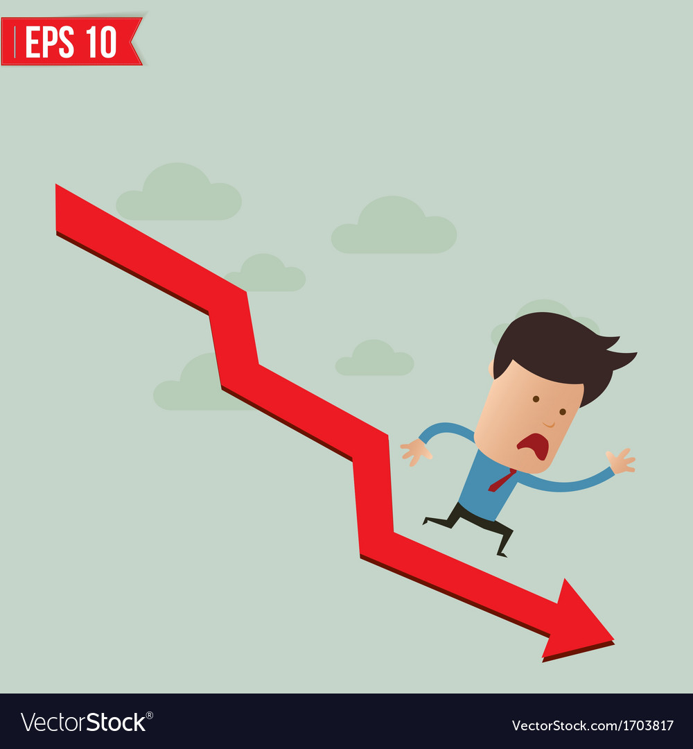 Business man run over the graph - - eps10 vector | Price: 1 Credit (USD $1)