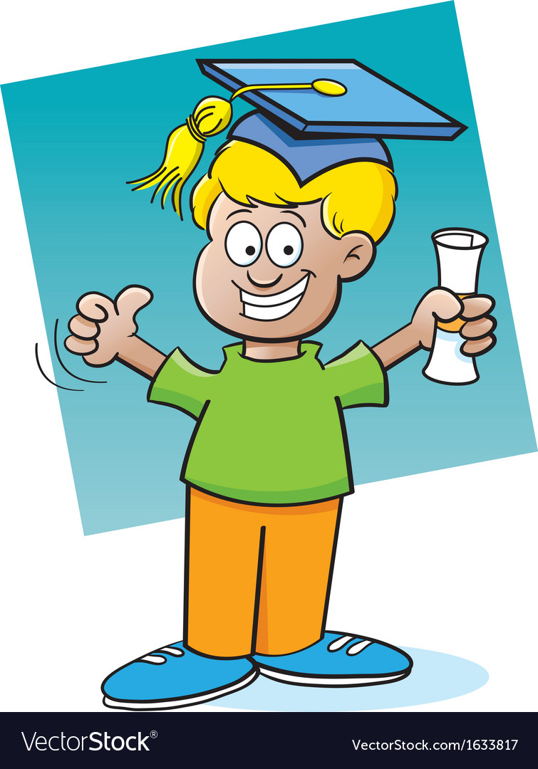 Cartoon boy holding a diploma vector | Price: 1 Credit (USD $1)