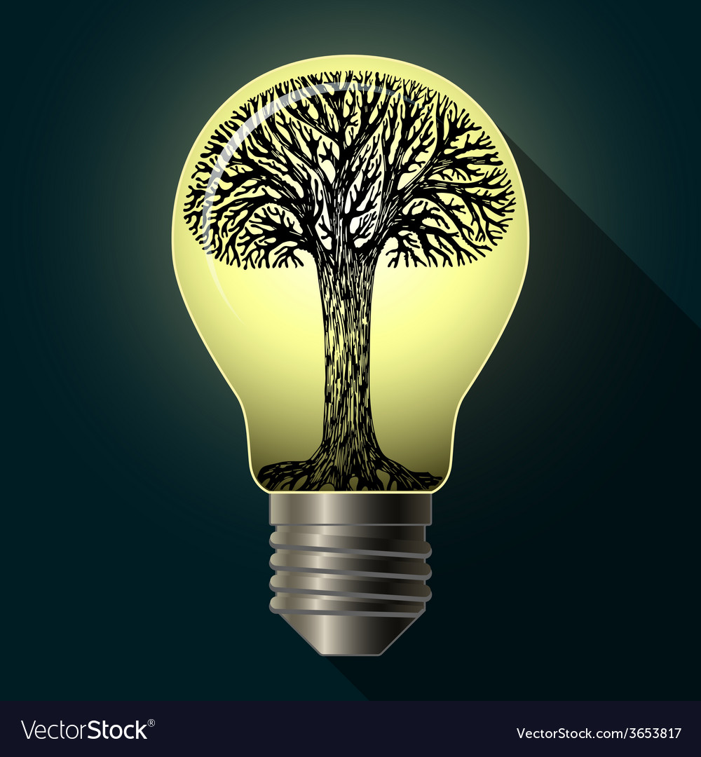 Eco bulb with tree vector | Price: 1 Credit (USD $1)