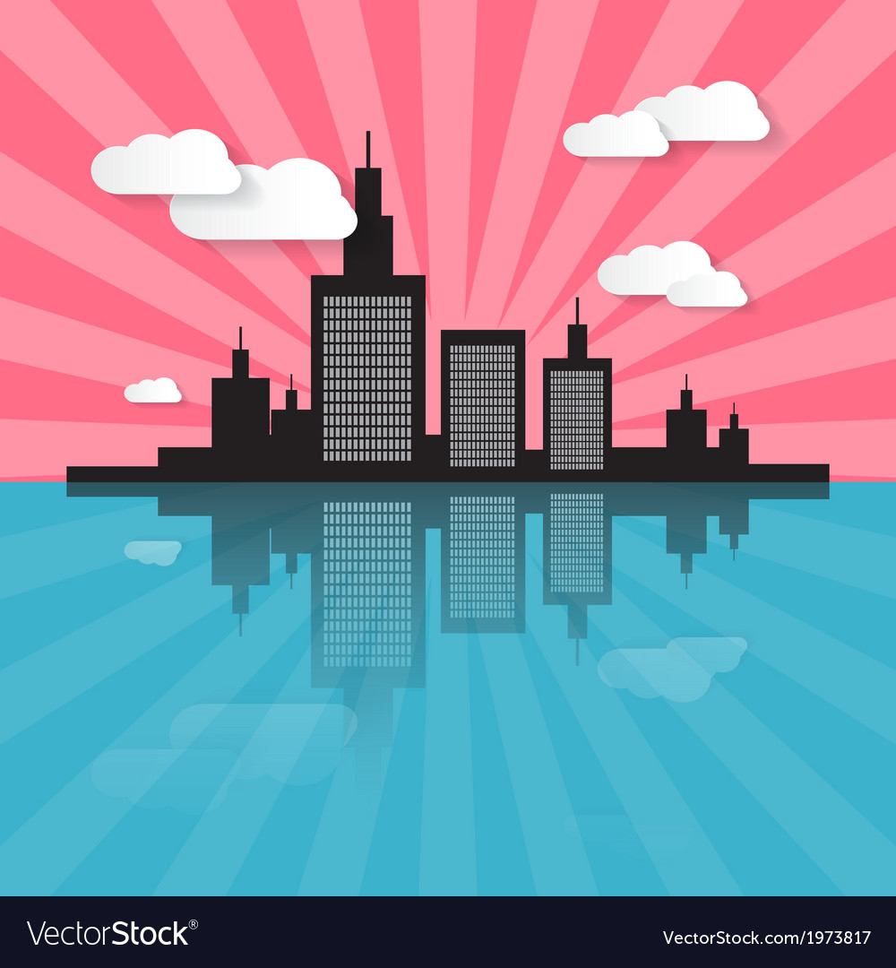 Evening - morning city scape vector | Price: 1 Credit (USD $1)
