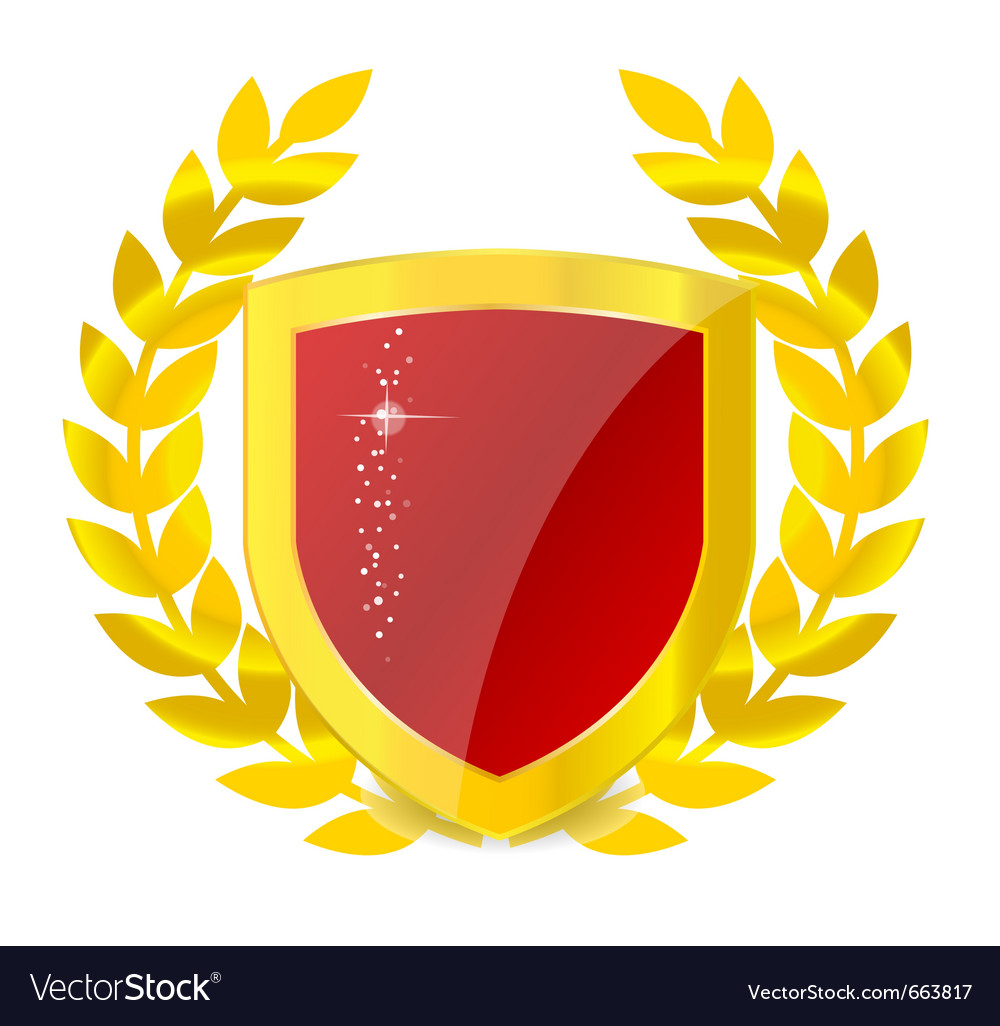 Gold emblem of colorful shield vector | Price: 1 Credit (USD $1)