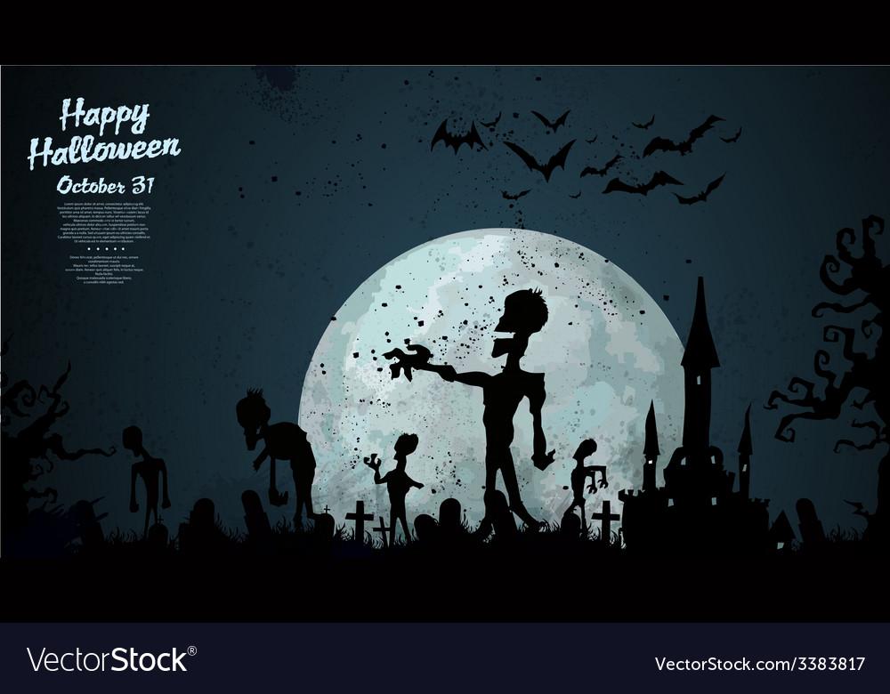 Halloween zombie background vector | Price: 1 Credit (USD $1)