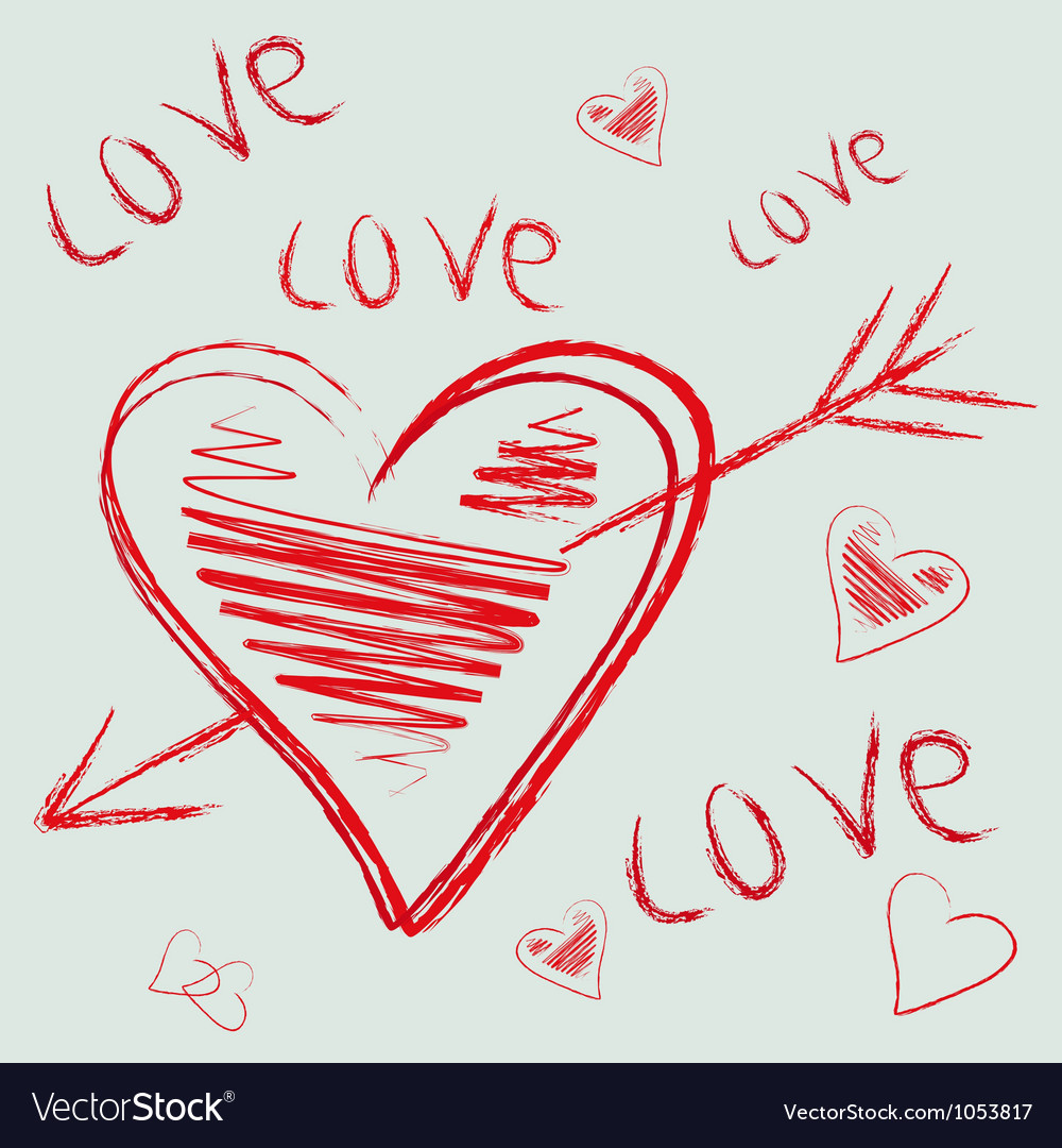 Hand drawn flying heart vector | Price: 1 Credit (USD $1)