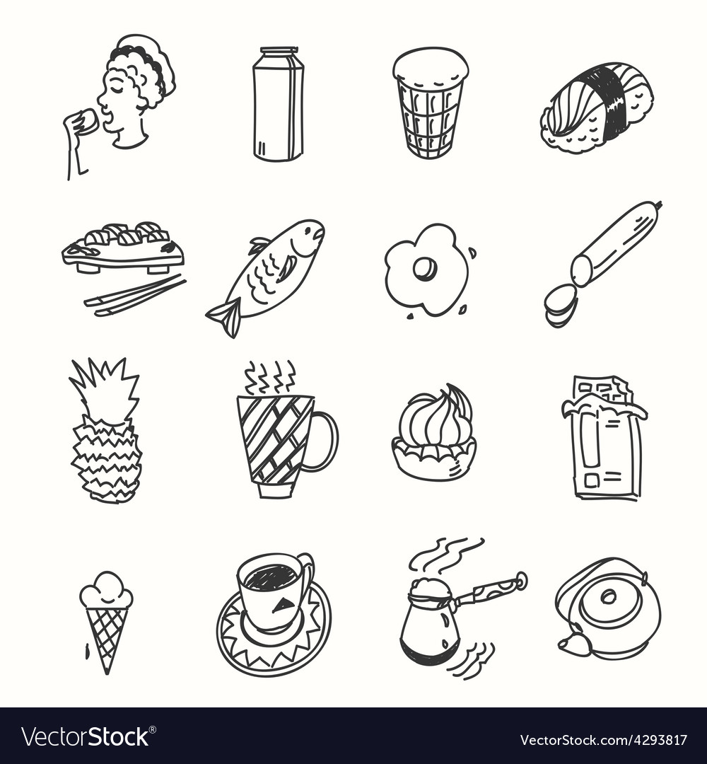 Morning breakfast lunch or dinner kitchen doodle vector | Price: 1 Credit (USD $1)