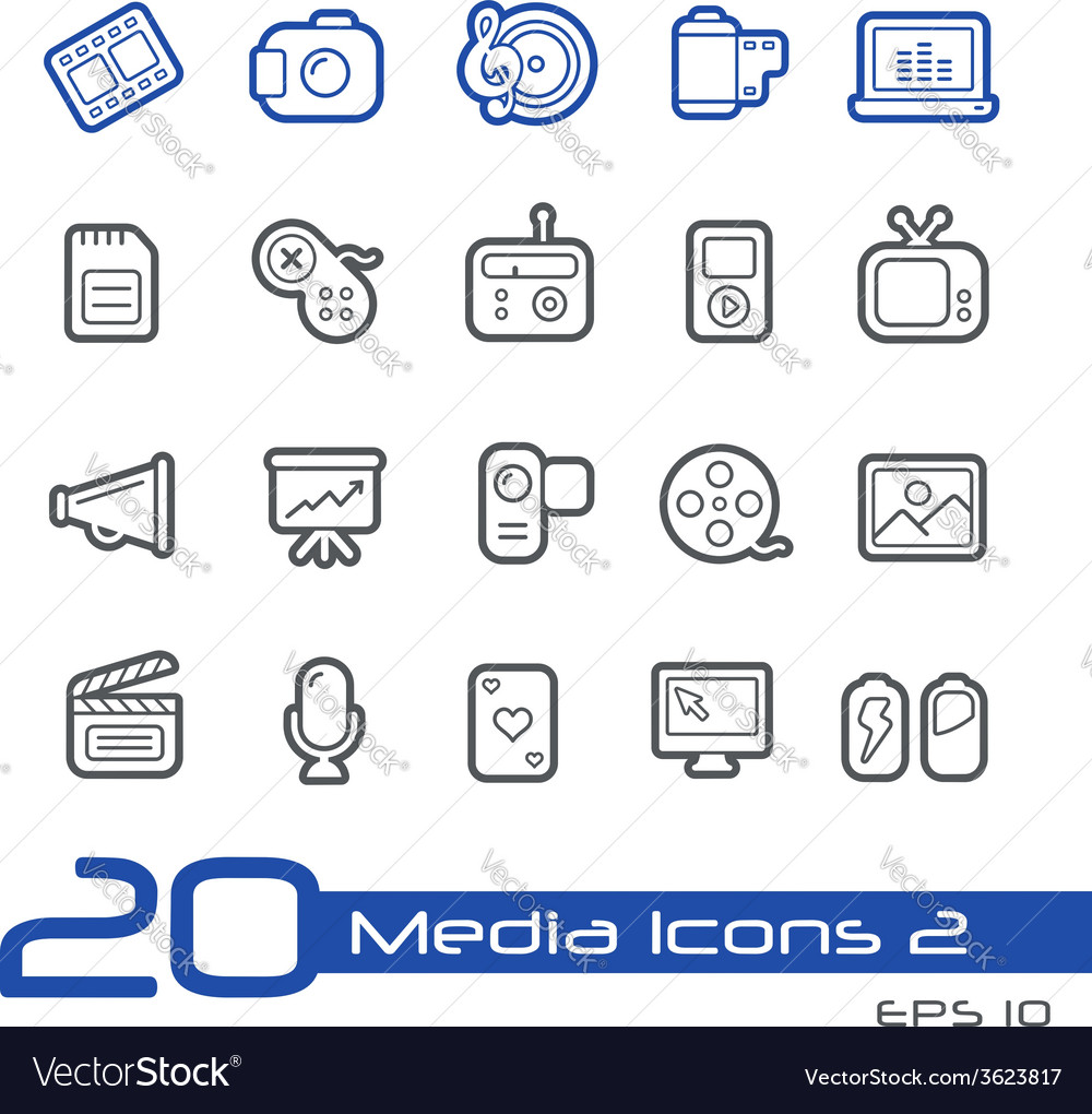 Multimedia outline series vector | Price: 1 Credit (USD $1)