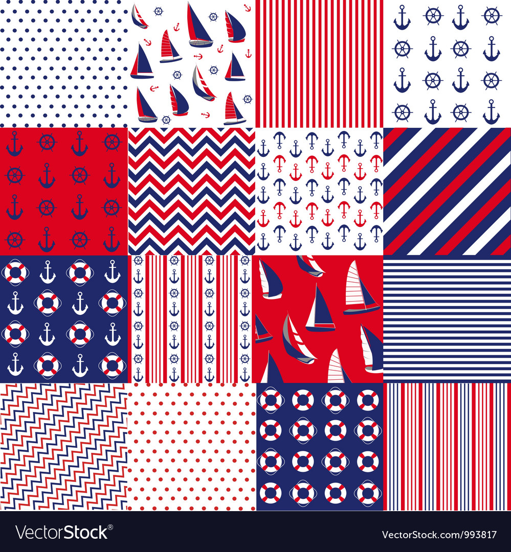 Pattern with nautical elements vector | Price: 1 Credit (USD $1)