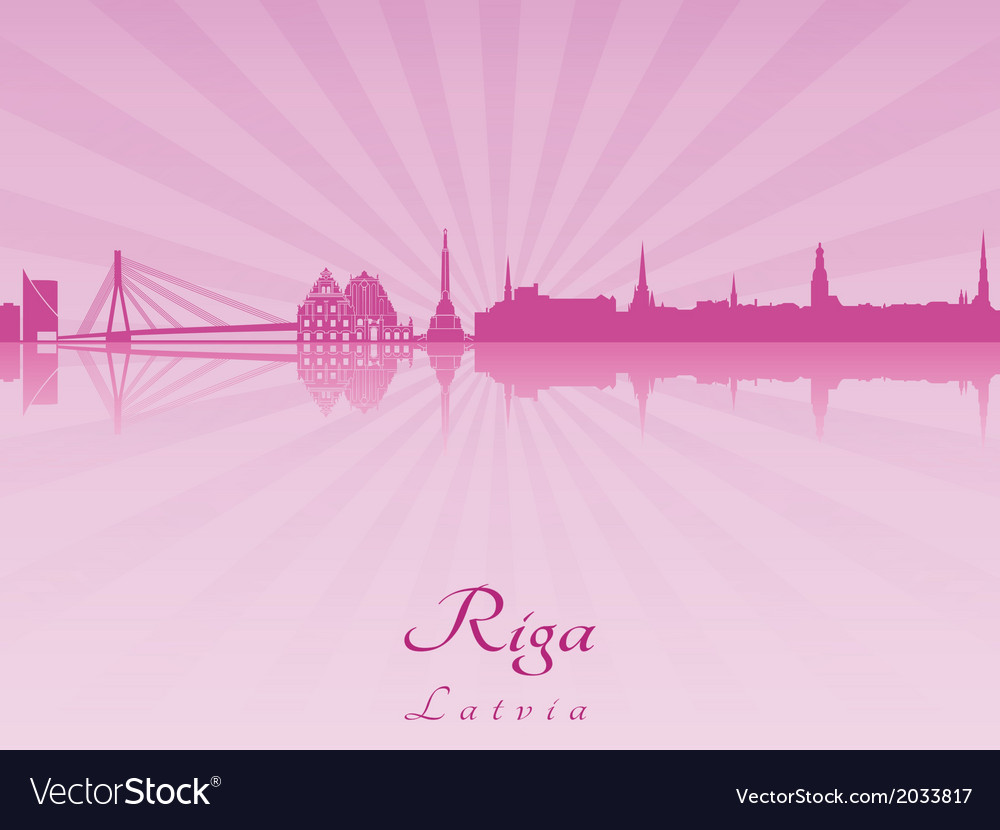 Riga skyline in purple radiant orchid vector | Price: 1 Credit (USD $1)