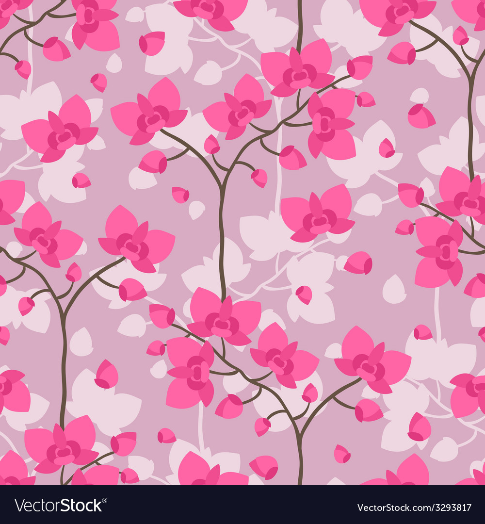 Seamless tropical pattern with stylized orchid vector | Price: 1 Credit (USD $1)
