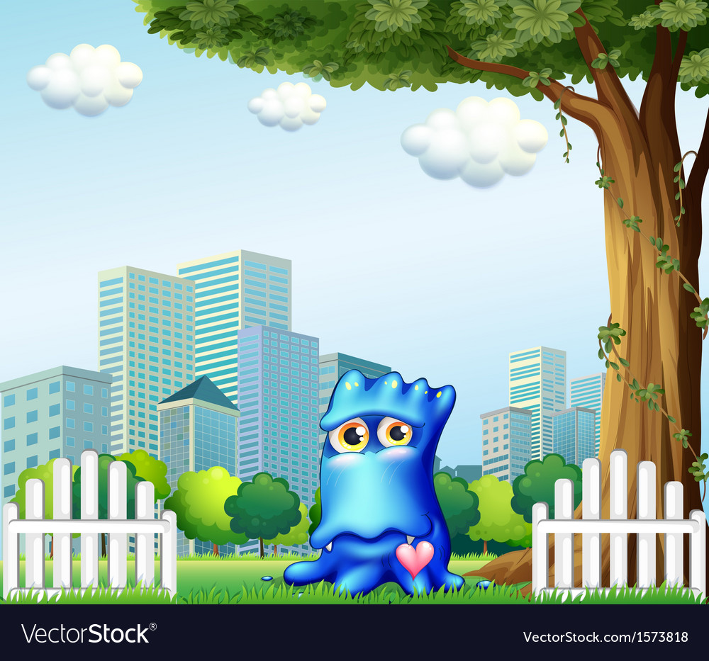 A blue monster standing near the fence across the vector