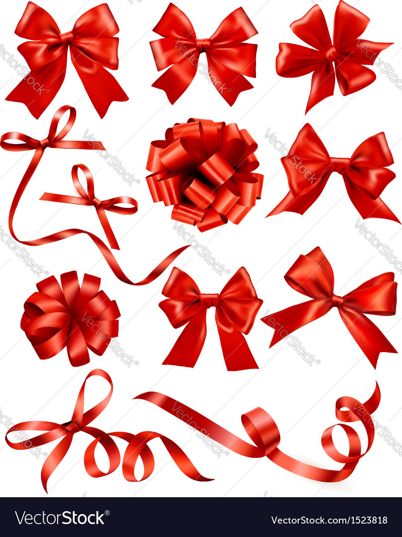 Big set of red gift bows with ribbons stock vector | Price: 1 Credit (USD $1)