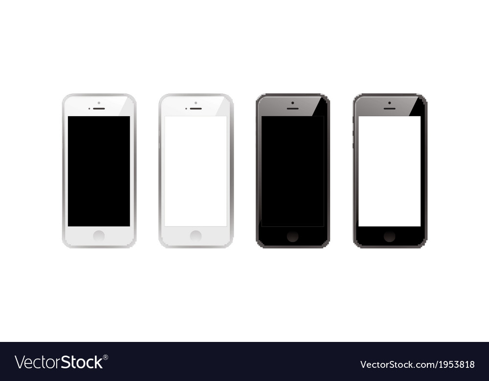 Black and white smart phones vector | Price: 1 Credit (USD $1)