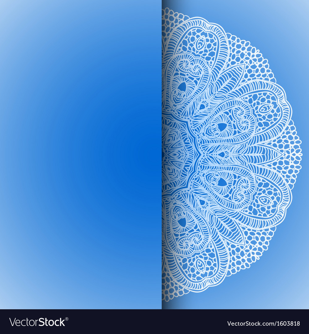 Blue winter round lace background vector | Price: 1 Credit (USD $1)