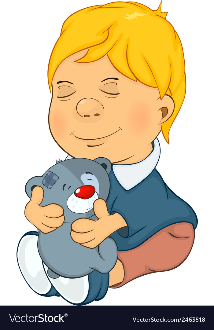 The boy and toy bear cub cartoon vector | Price: 1 Credit (USD $1)