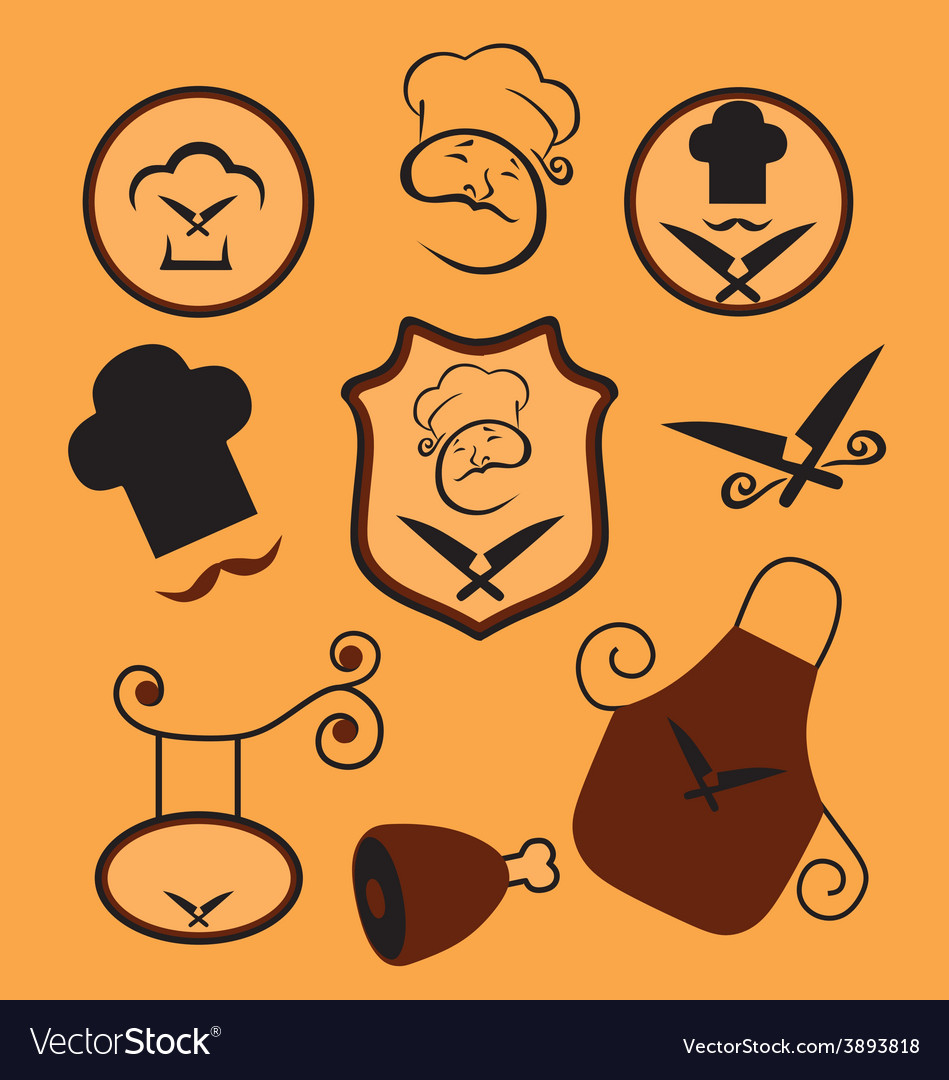 Butcher and bakery set vector | Price: 1 Credit (USD $1)