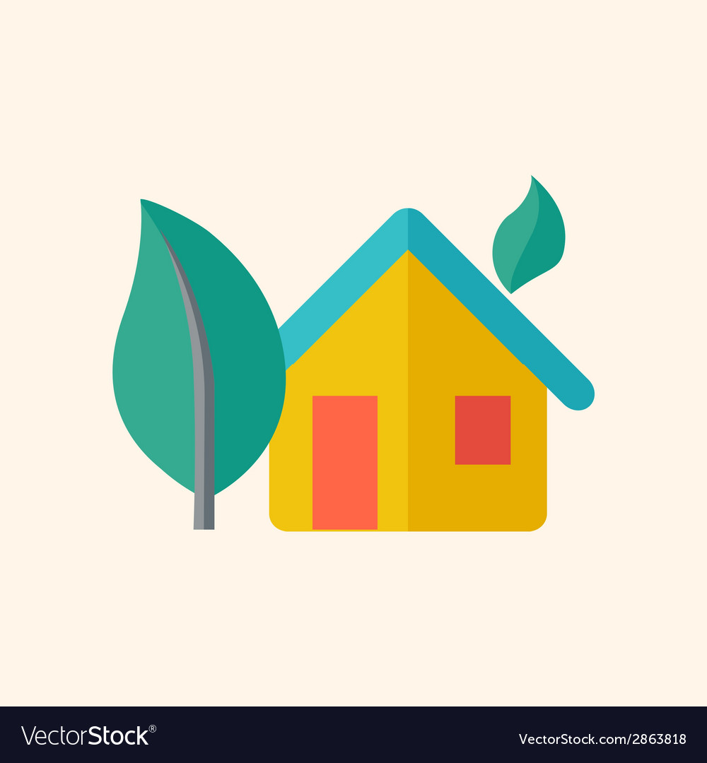 Eco-friendly house flat icon vector | Price: 1 Credit (USD $1)