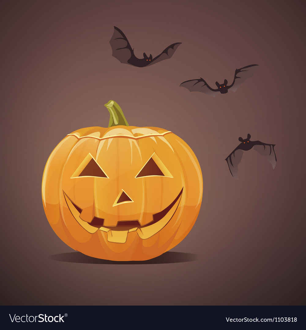 Jack-o-lantern with bats vector | Price: 3 Credit (USD $3)