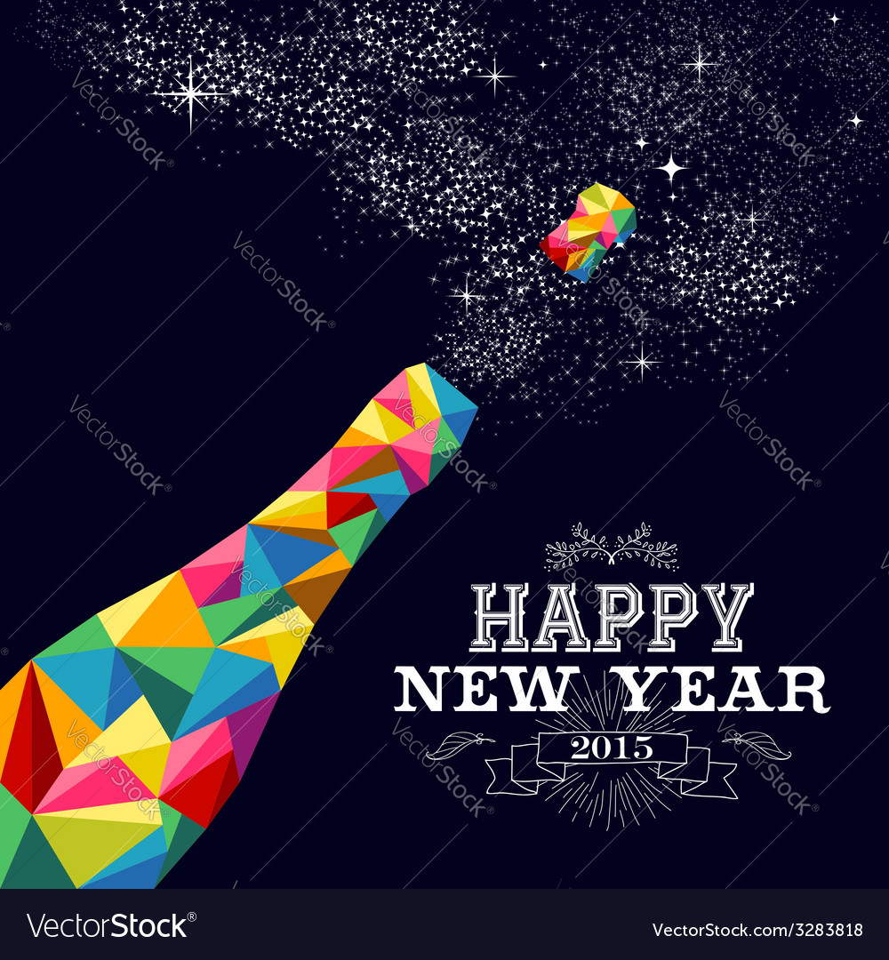 New year 2015 champagne bottle poster design vector