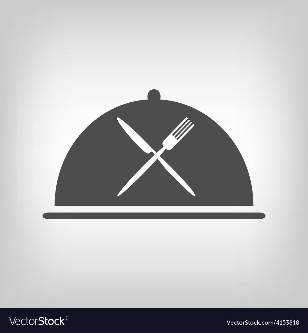 Restaurant icon with grey cloche and flatware vector | Price: 1 Credit (USD $1)