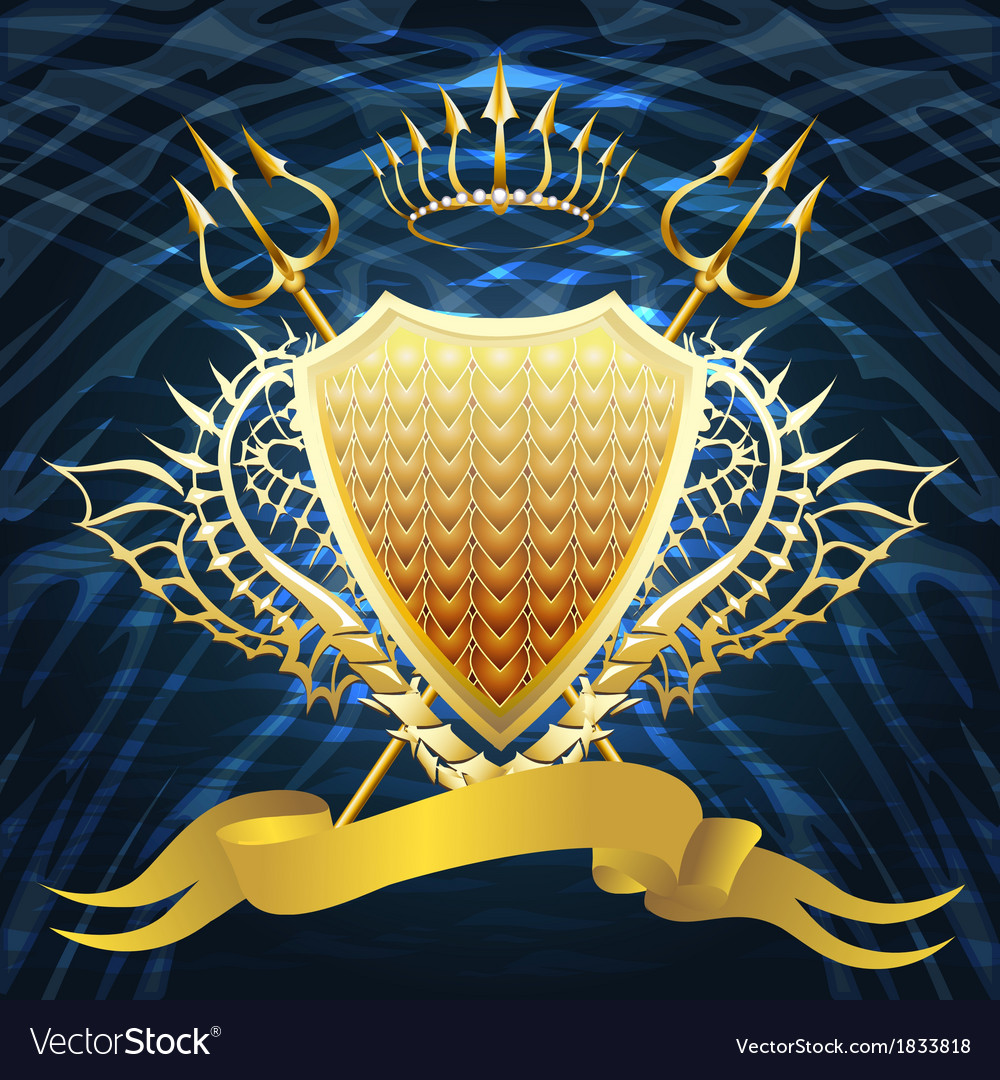 Shield with tridents vector | Price: 1 Credit (USD $1)