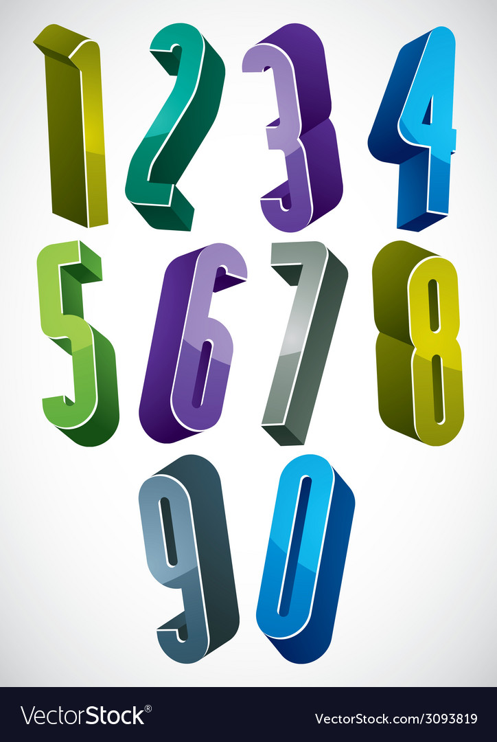 3d extra tall numbers set in blue and green colors vector | Price: 1 Credit (USD $1)