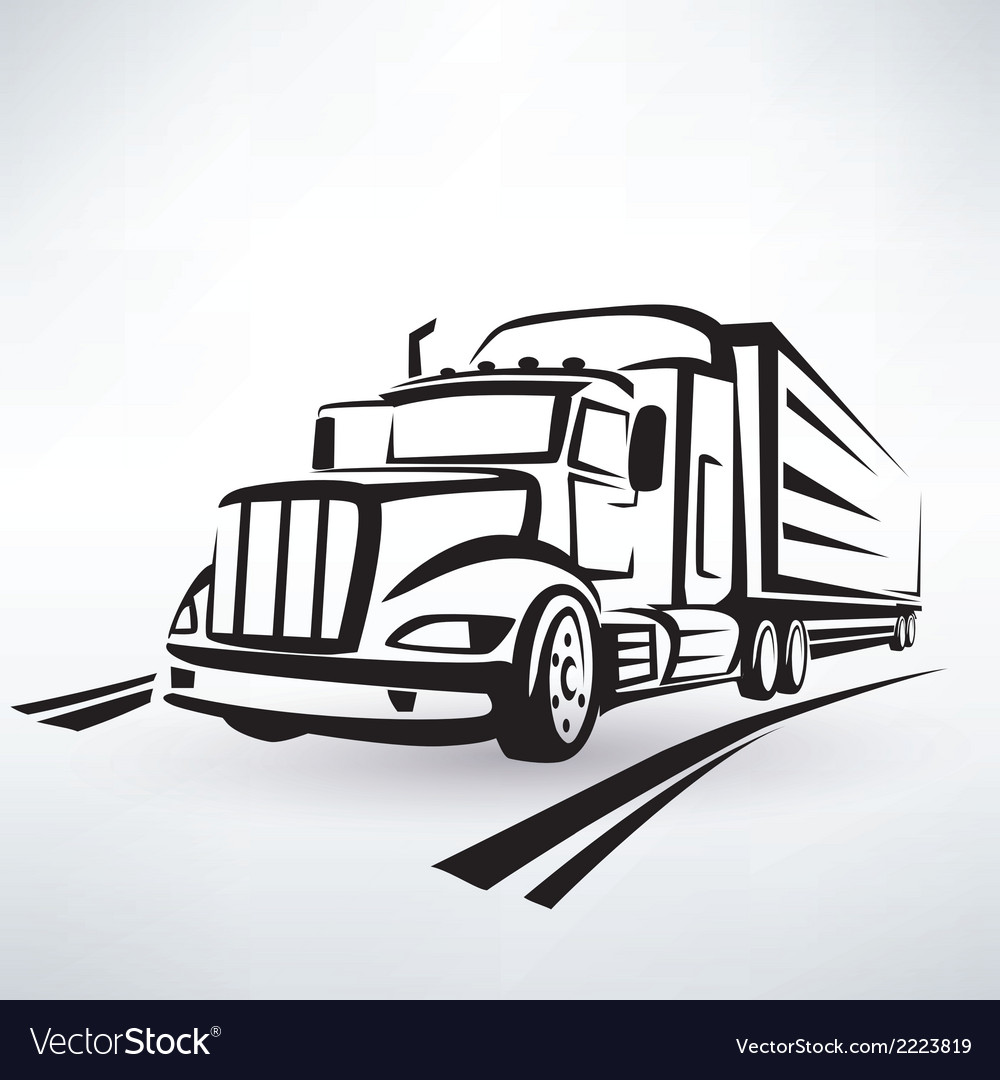 American lorry silhouette truck outlined sketch vector | Price: 1 Credit (USD $1)