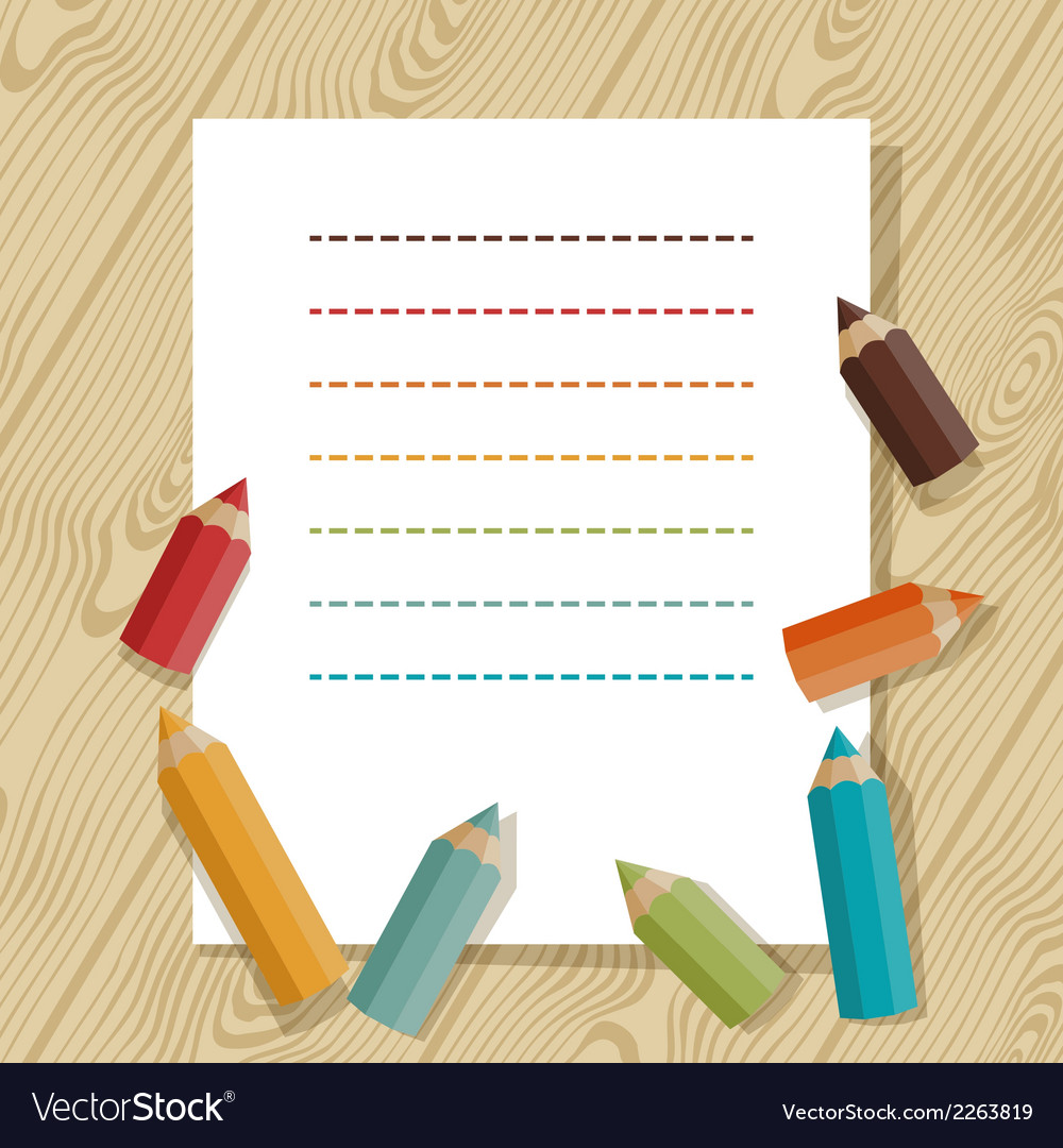Background with colored pencils in retro style vector | Price: 1 Credit (USD $1)