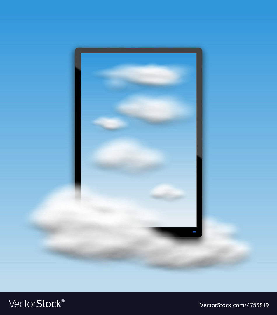 Black tablet pc computer with clouds and blue sky vector | Price: 1 Credit (USD $1)