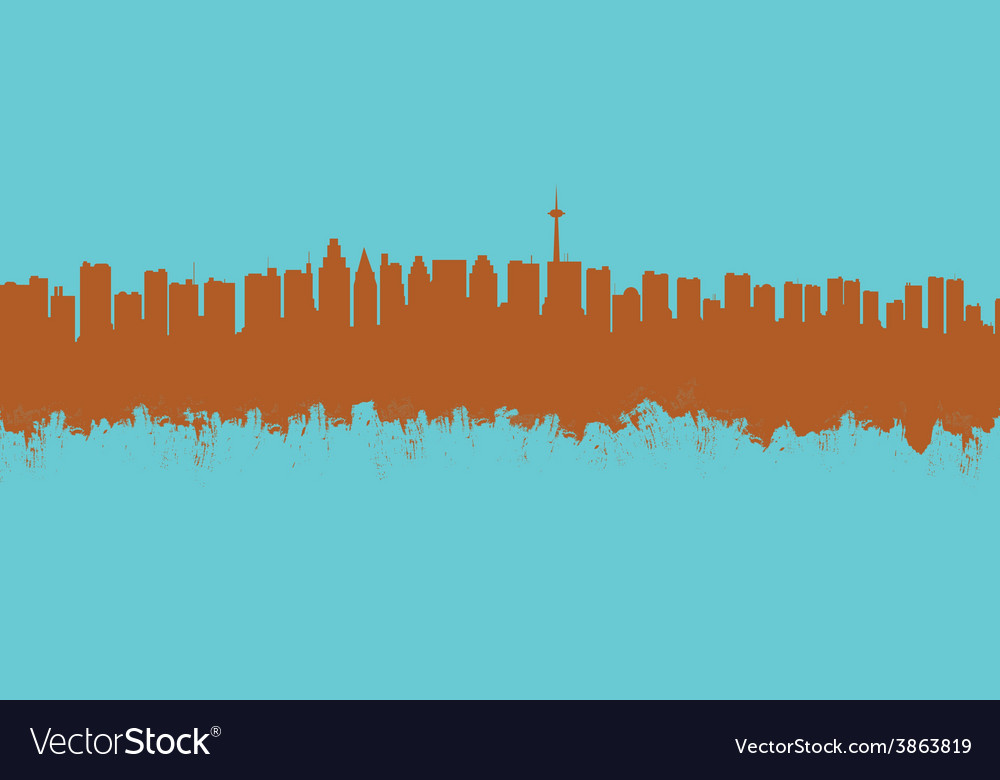 The city contour executed by a brush on a blue vector | Price: 1 Credit (USD $1)